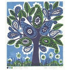 linoprint 'paisley tree 041  http://folksy.com/items/991557 #paisley