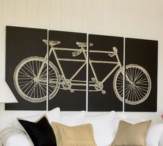 Tandem Bicycle Stretched Canvas, Set of 4 | Pottery Barn