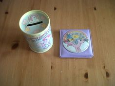 vintage 1980's my little pony money box and compact mirror