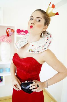 Queen of Hearts costume with tutorial for playing card collar and crown headpiece.