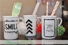 Make Sharpie Mugs with vinyl stencils--what a great idea!