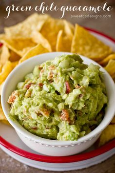 Green chili guacamole- only takes 5 minutes!