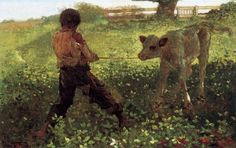 """The Unruly Calf""  Winslow Homer"