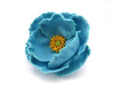 Felt brooch Blue Flower via Etsy
