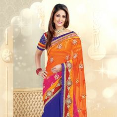 #Orange and #Blue Net and Art Silk #Saree with Blouse