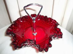 Fenton ruby red, hobnail, candy dish/tray