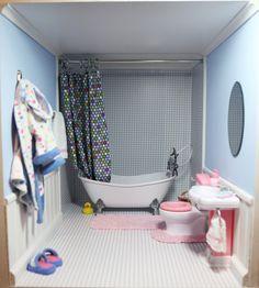 American Girl bathroom - love the shower!