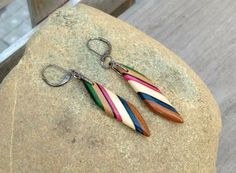 Modern Geometric Earrings Multicolour Diagonal Stripe Beads Handmade Exotic Wood Bead Everyday Jewelry by WoodenItBeadLovely   by WoodenItBeadLovely for $35.00