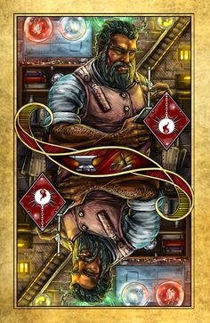 King of Diamonds - Kilvin. The Name of the Wind playing cards by Albino Dragon. (Kingkiller Chronicle Fan? VISIT eoliantavern.com)