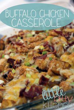 Buffalo Chicken Casserole on MyRecipeMagic.com #chicken #buffalo #casserole