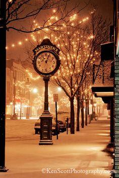 holiday, christmas time, clock, christmas lights, winter wonderland