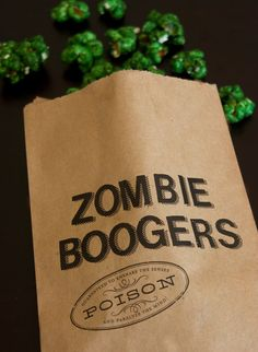"""FInd the recipe for the """"zombie boogers"""" candy coated popcorn on Paper & Parcel's blog:   blog.paperandparc..."""