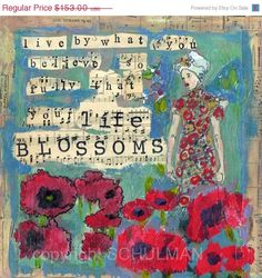 "inspirational art inspiration, mixed media collage  Quote Canvas Painting 12x12"" blue tan red poppies inspirational quote"