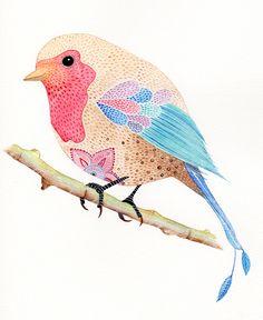 Bird,watercolour illustration, birdwatercolour illustr, bird illustration, illustrations, digit print, watercolour illustration, digital prints, birds, magenta bird, mandala