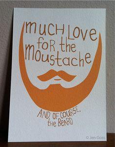 Beard & moustache hand drawn love print 5 x 7 by ArthursPlaidPants, $12.00