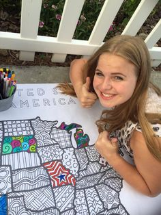 4th of July Coloring pages - A girl and a glue gun