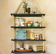 36 Utterly Charming Nautical DIYs. My favorite are the rope shelves! Perfect for the bathroom!