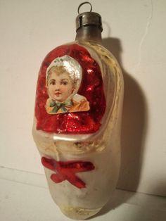 Antique German mercury glass baby shoe with baby scrap ornament. mercury glass, antiqu christma, vintag ornament, glass ornament, christma ornament, scrap ornament, glass babi