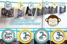 0 months to 12 months photo banner  picture holder - mod monkey theme Boy - 1st year birthday party ( DIY Printable). $8.99, via Etsy.