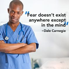 """Fear doesn't exist anywhere except in the mind."" - Dale Carnegie perfect quot, dale carnegie, motiv pin"