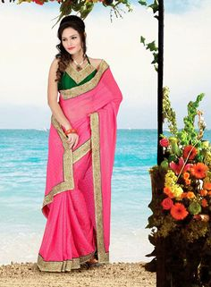 USD 61.66 Pink Faux Georgette Lace Work Party Wear Saree    36636