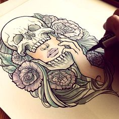 ink sketch, womans skull tattoo, tattoo sketches, skull tattoos, sketches tattoo, heaven tattoos, body sketch art, tattoos sketches, sketch tattoo