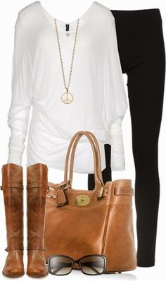 White long shirt, black legging pants, brown hand bag and high heel boots for fall combination