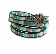 Wrapped leather bracelet, Teal turquoise Tila beads