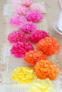 Wow, Easiest Tissue Paper Flowers Ever! So Much Easier Than What I Had Been Doing!!!!!  And This Table Runner Is Amazing, Simply Make These Ultra Easy Flowers And Attach Them To Book Pages!! Never Would Have Thought Of This, I Love This Woman's Blog!!