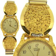 gold nugget watches on gold jewelry