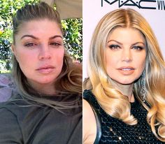 Fergie  On left: relaxing at home on Sept. 21, 2012  On right: turning heads at the 3rd Annual amfAR Inspiration Gala in New York City on June 7, 2012