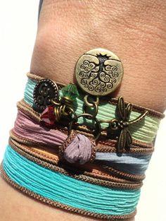 Tree of Life Dragonfly Silk Wrap Bracelet by BohemianEarthDesigns, $27.95