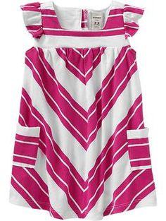 Chevron Stripe Flutter Dress-Pink Stripe $12.00