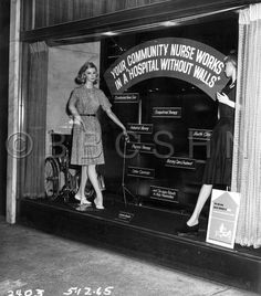 A Philadelphia store window display celebrating the Visiting Nurse Society of Philadelphia, 1965. Image courtesy of the Barbara Bates Center for the Study of the History of Nursing.
