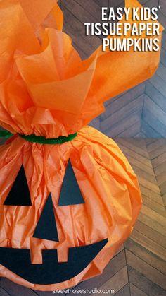 Easy Kids Tissue Paper Pumpkins #Halloween #crafts