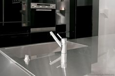 #Kitchen of the Day: Modern Black Kitchens. Stainless Steel Countertop with integrated sink.