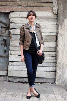 Rolled jeans with flats. Supposedly the little bit of ankle showing is key.