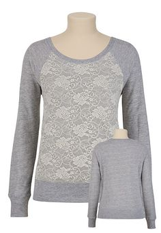 Maurice's Lace Front Pullover Sweatshirt $29. Cute but maybe not that warm?
