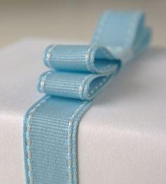 Blue Stitched Ruffle Bow