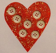 Button & glitter hearts