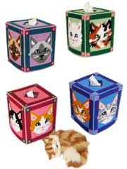 Pretty Kitty Tissue Toppers Pattern from AnniesCatalog.com -- Purr-fect for all cat enthusiasts! Featuring Siamese, Persian, Calico, Tuxedo and Tiger cats, these 4 tissue toppers are stitched on 7-mesh plastic canvas using worsted-weight yarn.