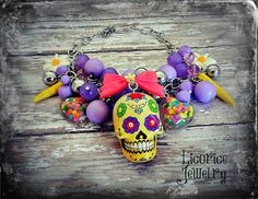 Yellow Floral Sugar Skull Tattoo Dia de Los Muertos Day of the Dead FLower Statement Necklace Skeleton bow creepy candy sprinkles via Etsy Skull Tattoo