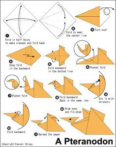 Оригами динозавра для детей