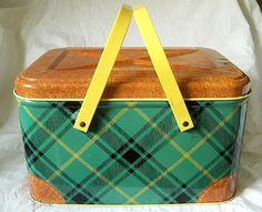 Vintage Metal Green Plaid Yellow Handle Picnic Basket