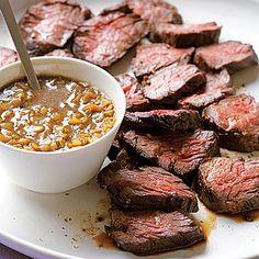 Hanger Steak w/ Green Garlic sauce