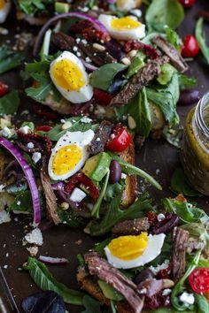Greek Steak Salad French Bread with Soft Boiled Eggs + Feta by halfbakedharvest #Salad #STeak #Eggs #Feta