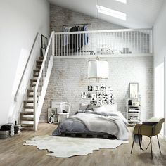 The light greys and whites work really well here with the white painted brickwork