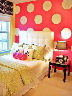 polka dot wall. monogram pillows.