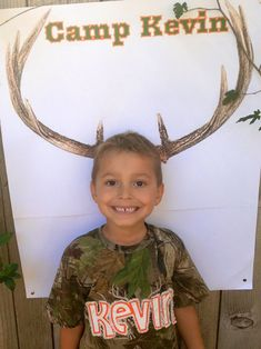 Deer photo prop for my son, Kevin's, hunting themed 5th birthday party!! Birthday shirt made by Love & Care Creations on Facebook & etsy