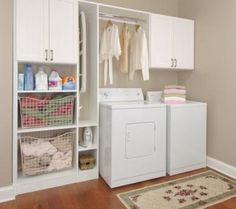 laundry cabinets & space above /rod above top loading washer